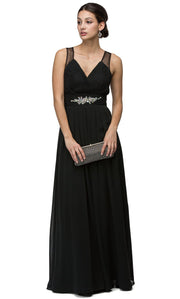Dancing Queen - 9539 V-Neck Illusion Back Ruched A-Line Gown In Black