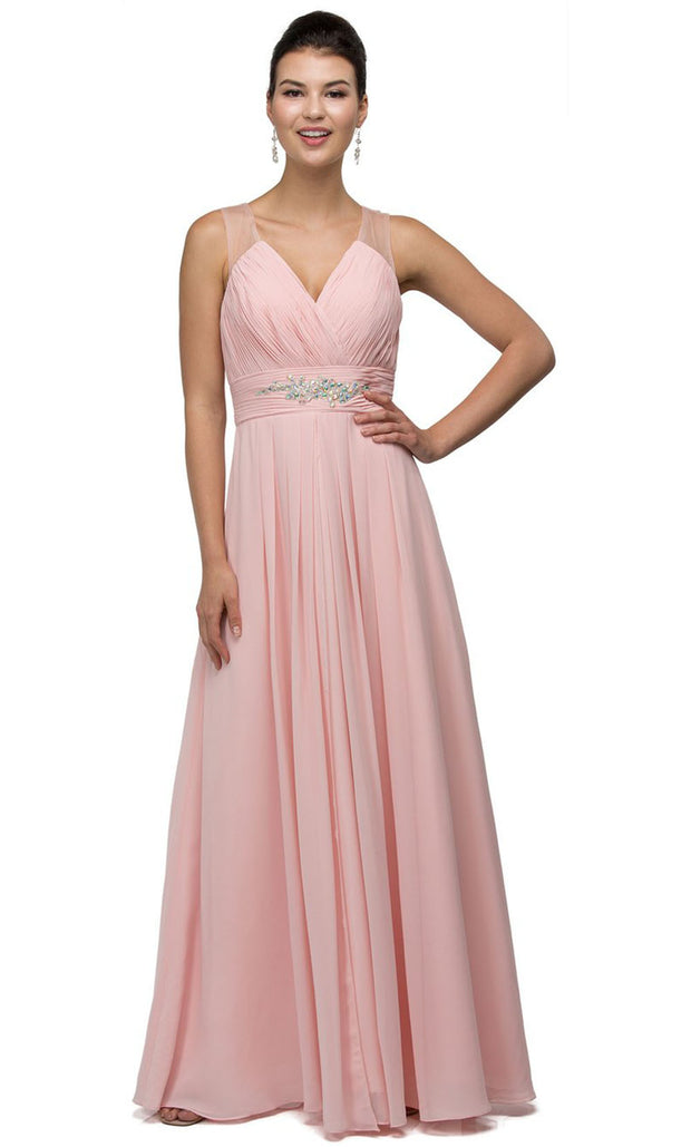 Dancing Queen - 9539 V-Neck Illusion Back Ruched A-Line Gown In Pink