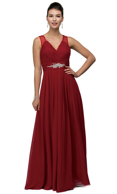 Dancing Queen - 9539 V-Neck Illusion Back Ruched A-Line Gown In Burgundy