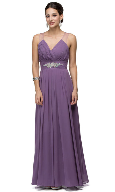 Dancing Queen - 9539 V-Neck Illusion Back Ruched A-Line Gown In Purple