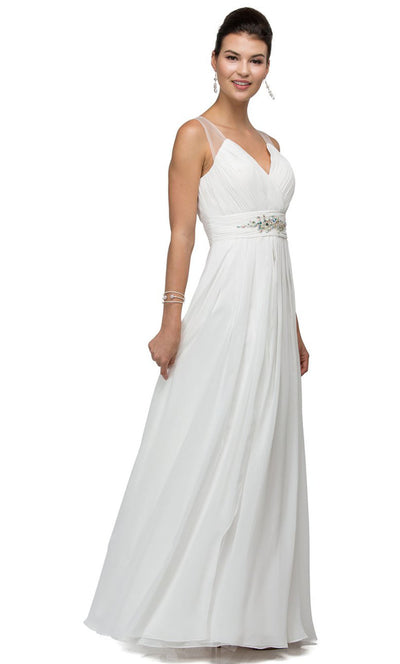 Dancing Queen - 9539 V-Neck Illusion Back Ruched A-Line Gown In White & Ivory