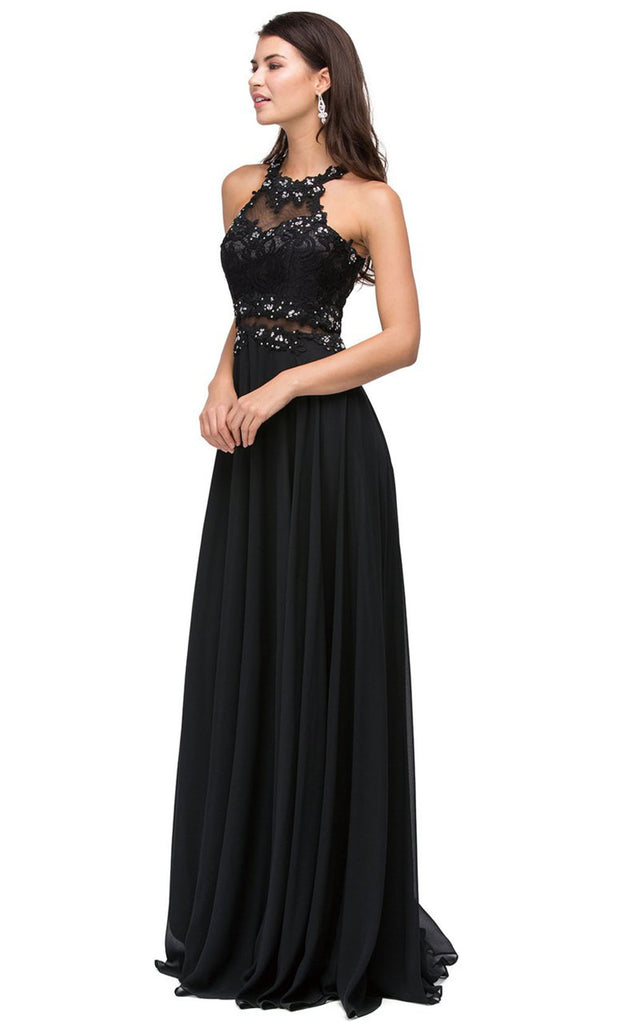 Dancing Queen - 9548 Illusion Two-Piece Lace Chiffon A-Line Gown In Black