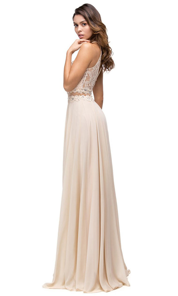 Dancing Queen - 9548 Illusion Two-Piece Lace Chiffon A-Line Gown In Champagne & Gold