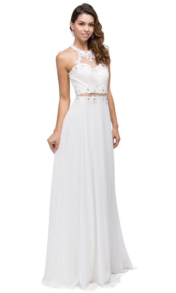 Dancing Queen - 9548 Illusion Two-Piece Lace Chiffon A-Line Gown In White & Ivory