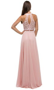 Dancing Queen - 9548 Illusion Two-Piece Lace Chiffon A-Line Gown In Pink