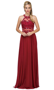 Dancing Queen - 9548 Illusion Two-Piece Lace Chiffon A-Line Gown In Burgundy