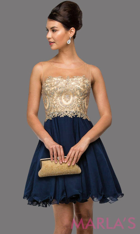 9552 - Short navy graduation dress with illusion beige bodice and flowy blue chiffon skirt. Perfect for grade 8 grad, short pink prom dress, quinceanera damas, sweet 15, sweet 16, semi formal party dress. Avail in plus sizes.