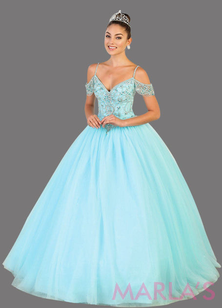 Long aqua blue ballgown with cold shoulder, beaded bodice and corset. Perfect for Quinceanera, Wedding Ballgown, Reception Dress, Engagement Dress, Sweet 16, Debut, Sweet 15, Prom Ballgown. Plus size avail.