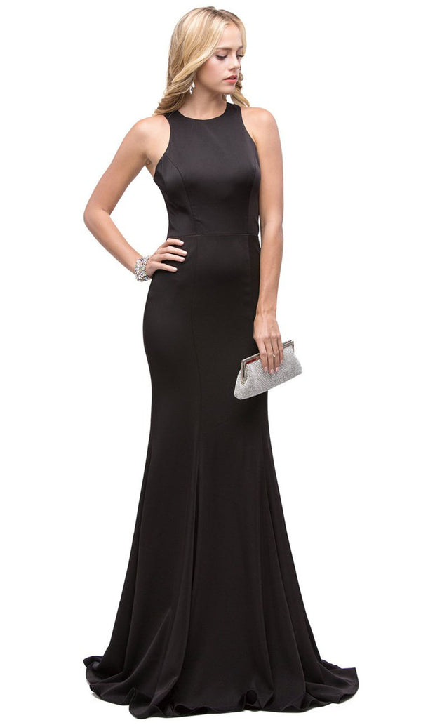 Dancing Queen - 9635 Jewel Neck Crepe Trumpet Dress In Black
