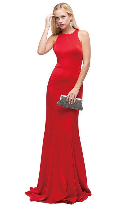 Dancing Queen - 9635 Jewel Neck Crepe Trumpet Dress In Red
