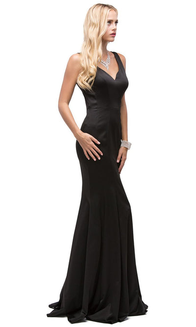 Dancing Queen - 9638 Long Cutout Back Trumpet Dress In Black