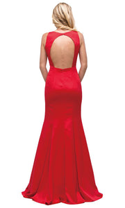 Dancing Queen - 9638 Long Cutout Back Trumpet Dress In Red