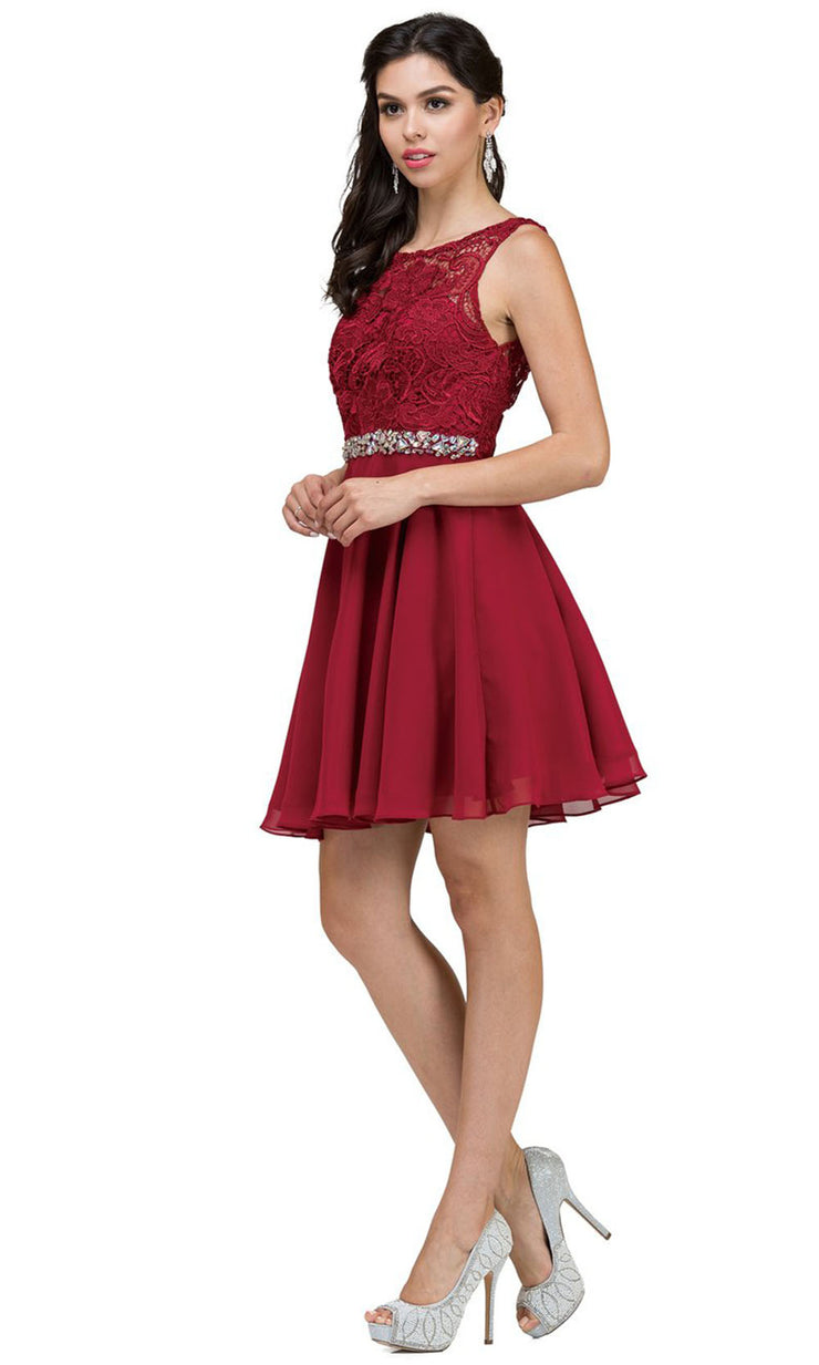 Dancing Queen - 9659 Embroidered Bateau A-Line Cocktail Dress In Red