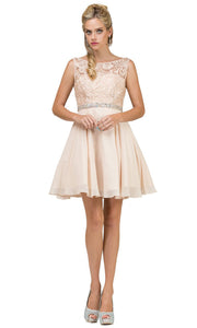 Dancing Queen - 9659 Embroidered Bateau A-Line Cocktail Dress In Neutral