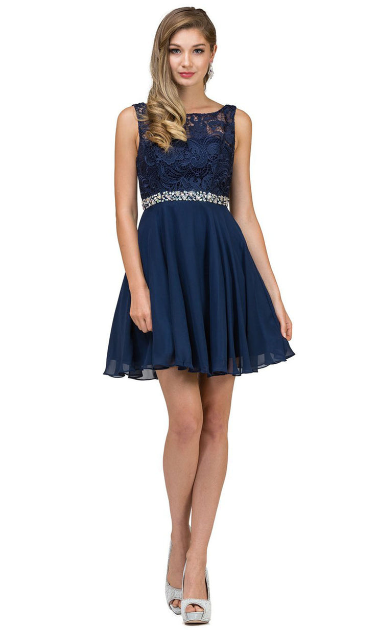 Dancing Queen - 9659 Embroidered Bateau A-Line Cocktail Dress In Blue