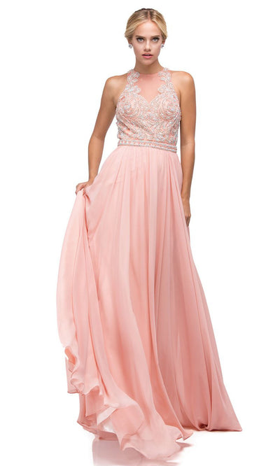 Dancing Queen - 9689 Embroidered Halter Neck A-Line Dress In Pink