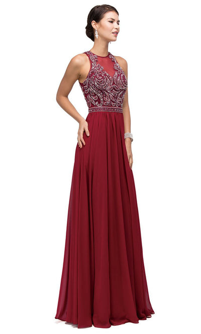 Dancing Queen - 9689 Embroidered Halter Neck A-Line Dress In Red