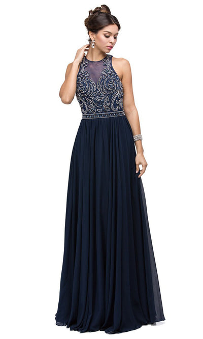 Dancing Queen - 9689 Embroidered Halter Neck A-Line Dress In Blue