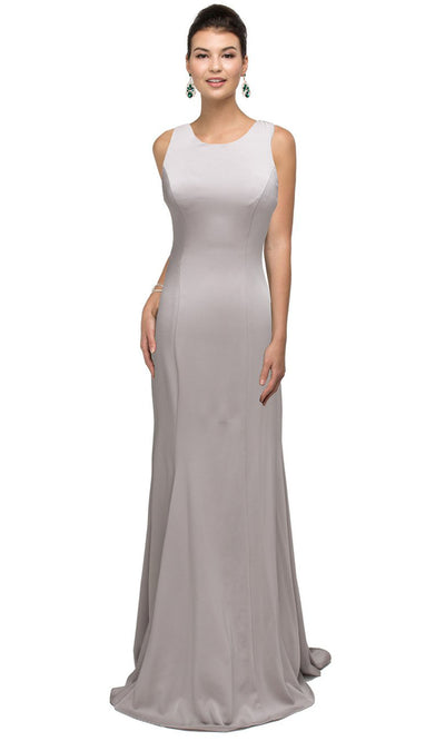 Dancing Queen - 9709 Appliqued Illusion Back Trumpet Dress In Silver & Gray