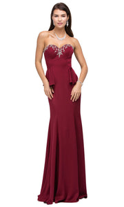 Dancing Queen - 9713 Jeweled Sweetheart Peplum Long Dress In Burgundy