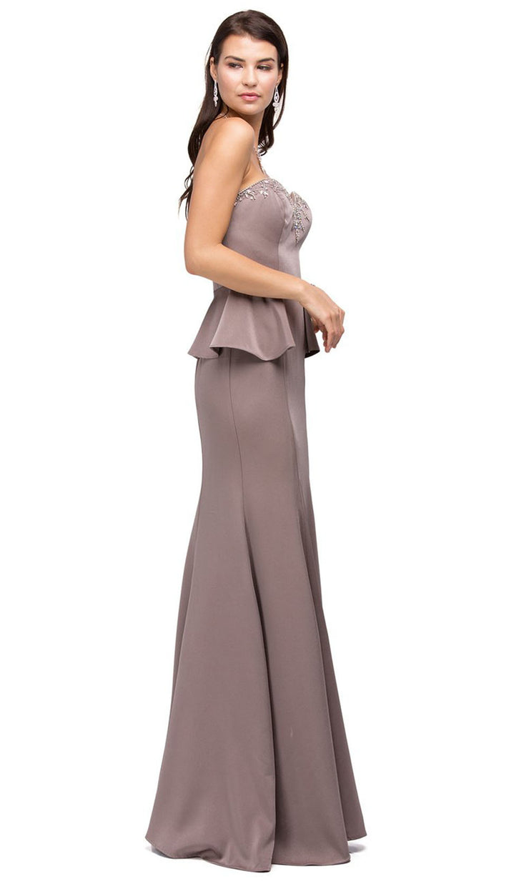 Dancing Queen - 9713 Jeweled Sweetheart Peplum Long Dress In Pink