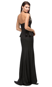 Dancing Queen - 9713 Jeweled Sweetheart Peplum Long Dress In Black