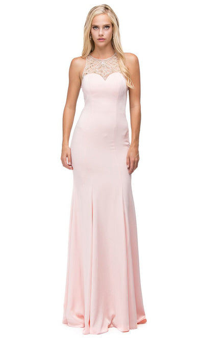 Dancing Queen - 9715 Embellished Halter Trumpet Dress In Pink