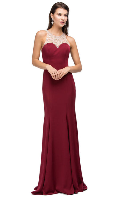 Dancing Queen - 9715 Embellished Halter Trumpet Dress In Red