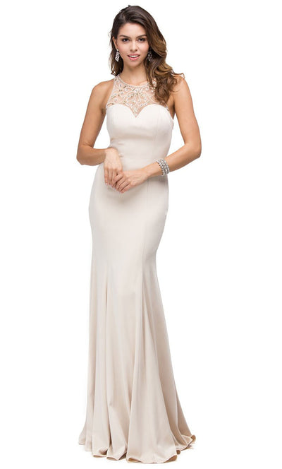 Dancing Queen - 9715 Embellished Halter Trumpet Dress In Neutral