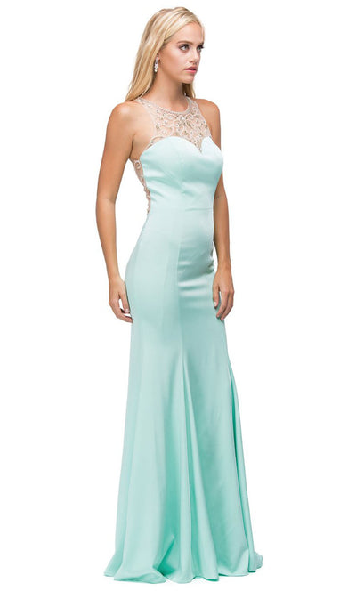 Dancing Queen - 9715 Embellished Halter Trumpet Dress In Green