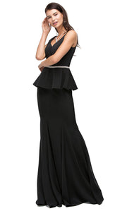 Dancing Queen - 9750 V-Neck Peplum Beaded Waist Mermaid Gown In Black