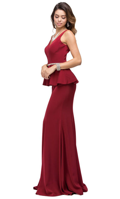 Dancing Queen - 9750 V-Neck Peplum Beaded Waist Mermaid Gown In Burgundy