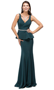 Dancing Queen - 9750 V-Neck Peplum Beaded Waist Mermaid Gown In Green