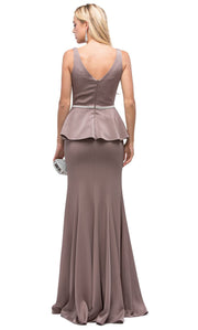 Dancing Queen - 9750 V-Neck Peplum Beaded Waist Mermaid Gown In Brown