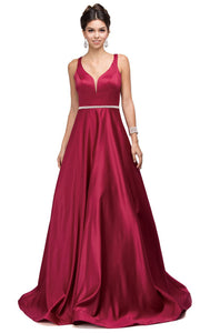 Dancing Queen - 9754 Sleeveless Jeweled Waist A-Line Dress In Burgundy