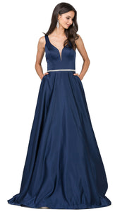 Dancing Queen - 9754 Sleeveless Jeweled Waist A-Line Dress In Blue