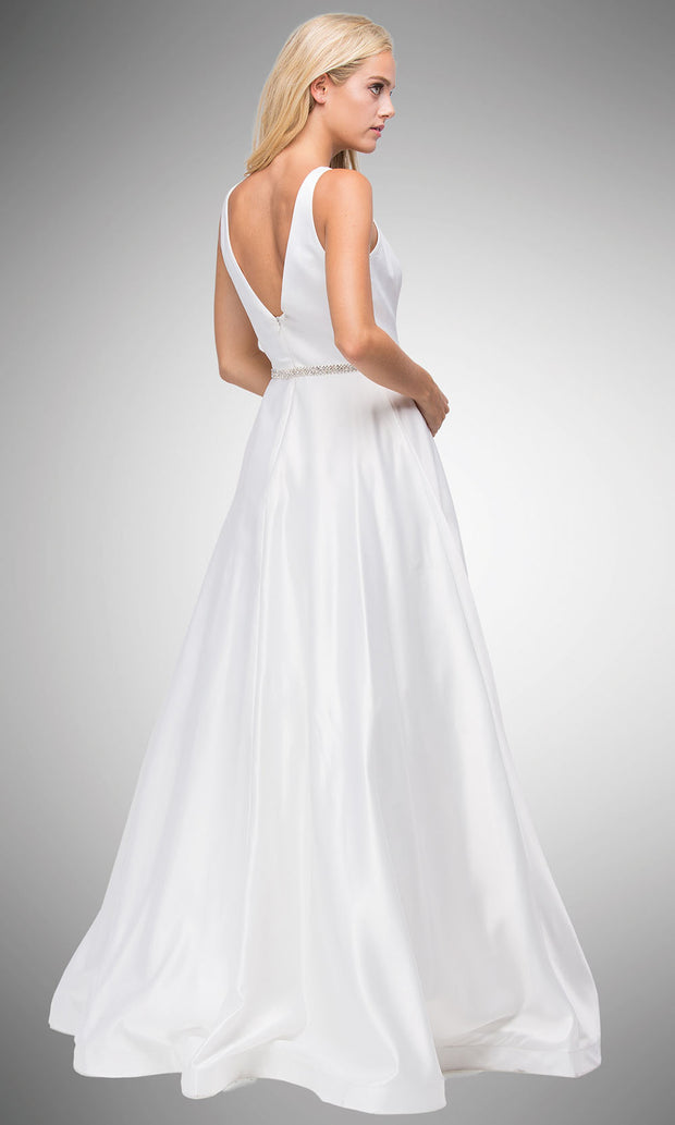 Dancing Queen - 9754 Sleeveless Jeweled Waist A-Line Dress In White & Ivory