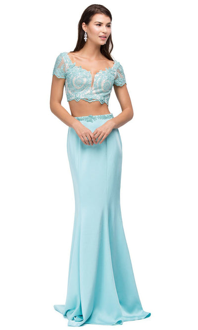 Dancing Queen - 9878 Two Piece Scoop Trumpet Gown In Blue