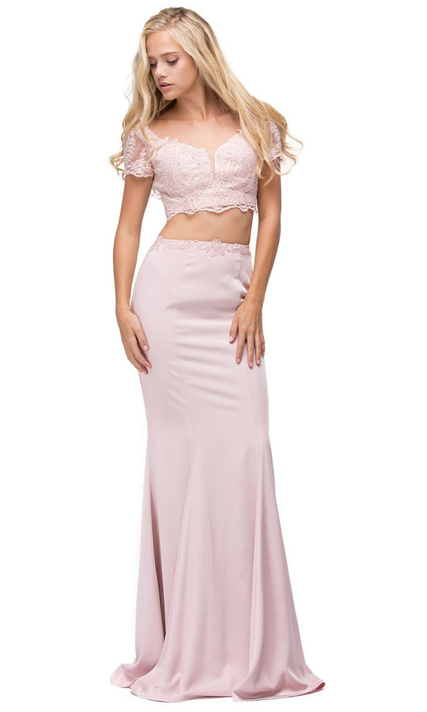 Dancing Queen - 9878 Two Piece Scoop Trumpet Gown In Pink