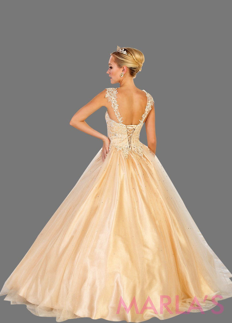 Back of Long off shoulder light champagne princess lace ball gown with rhinestone beading. Perfect for Engagement dress, Quinceanera, Sweet 16, Sweet 15, Debut, and light gold Wedding Reception Dress. Available in plus sizes