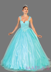 Long off shoulder light blue princess lace ball gown with rhinestone beading. Perfect for Engagement dress, Quinceanera, Sweet 16, Sweet 15, Debut, and aqua blue Wedding Reception Dress. Available in plus sizes