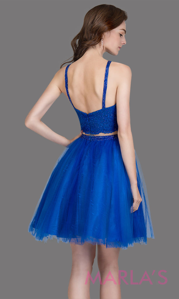 Short high neck simple 2 piece tulle royal blue grade 8 grad dress. This puffy royal blue graduation dress is great as quinceanera damas, sweet 16 birthday, bat mitzvah, confirmation, junior bridesmaid, blue 8th grade grad. Plus sizes avail