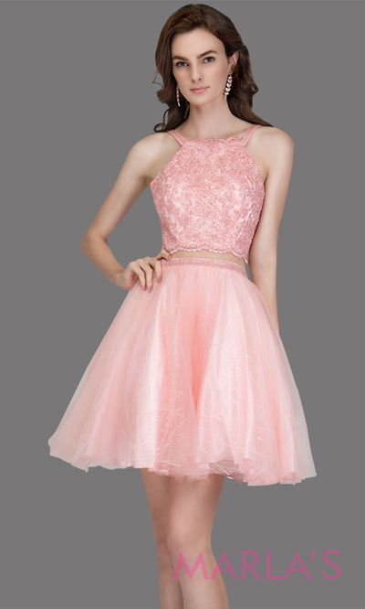 Short high neck simple 2 piece tulle blush pink grade 8 grad dress. This puffy light pink graduation dress is great as quinceanera damas, sweet 16 birthday, bat mitzvah, confirmation, junior bridesmaid, pink 8th grade grad. Plus sizes avail