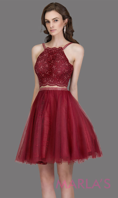 Short high neck simple 2 piece tulle burgundy red grade 8 grad dress. This puffy dark red graduation dress is great as quinceanera damas, sweet 16 birthday, bat mitzvah, confirmation, junior bridesmaid, maroon 8th grade grad. Plus sizes avail