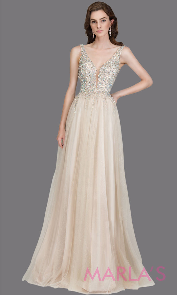 Long flowy beaded champagne beaded v neck dress with wide straps. This floor length light gold is perfect as a prom dress, wedding reception or engagement dress, formal wedding guest dress, gala dress, indowestern evening gown. Plus sizes avai