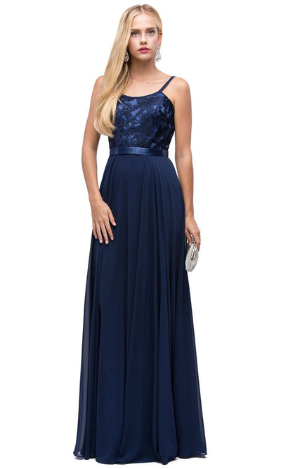 Dancing Queen - 9914 Embroidered Scoop Neck Long A-Line Dress In Blue