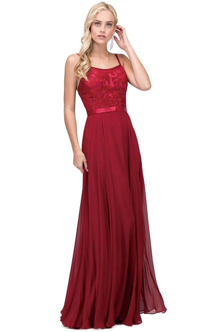 Dancing Queen - 9914 Embroidered Scoop Neck Long A-Line Dress In Red