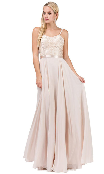 Dancing Queen - 9914 Embroidered Scoop Neck Long A-Line Dress In Neutral