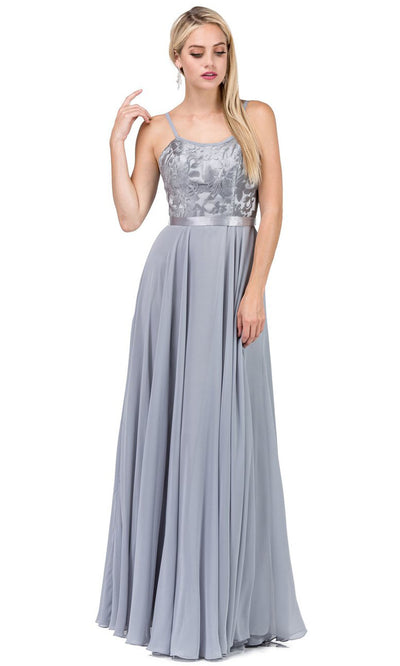 Dancing Queen - 9914 Embroidered Scoop Neck Long A-Line Dress In Silver