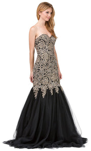 Dancing Queen - 9932 Strapless Beaded Lace Applique Mermaid Gown In Black
